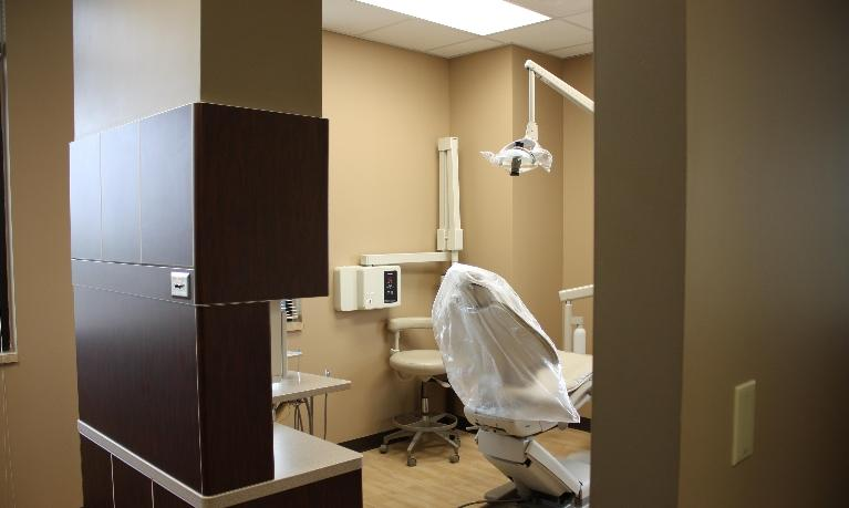 one of our dental operatories, as viewed from the hallway of our bridgteon mo dental office | bridgeton dentist